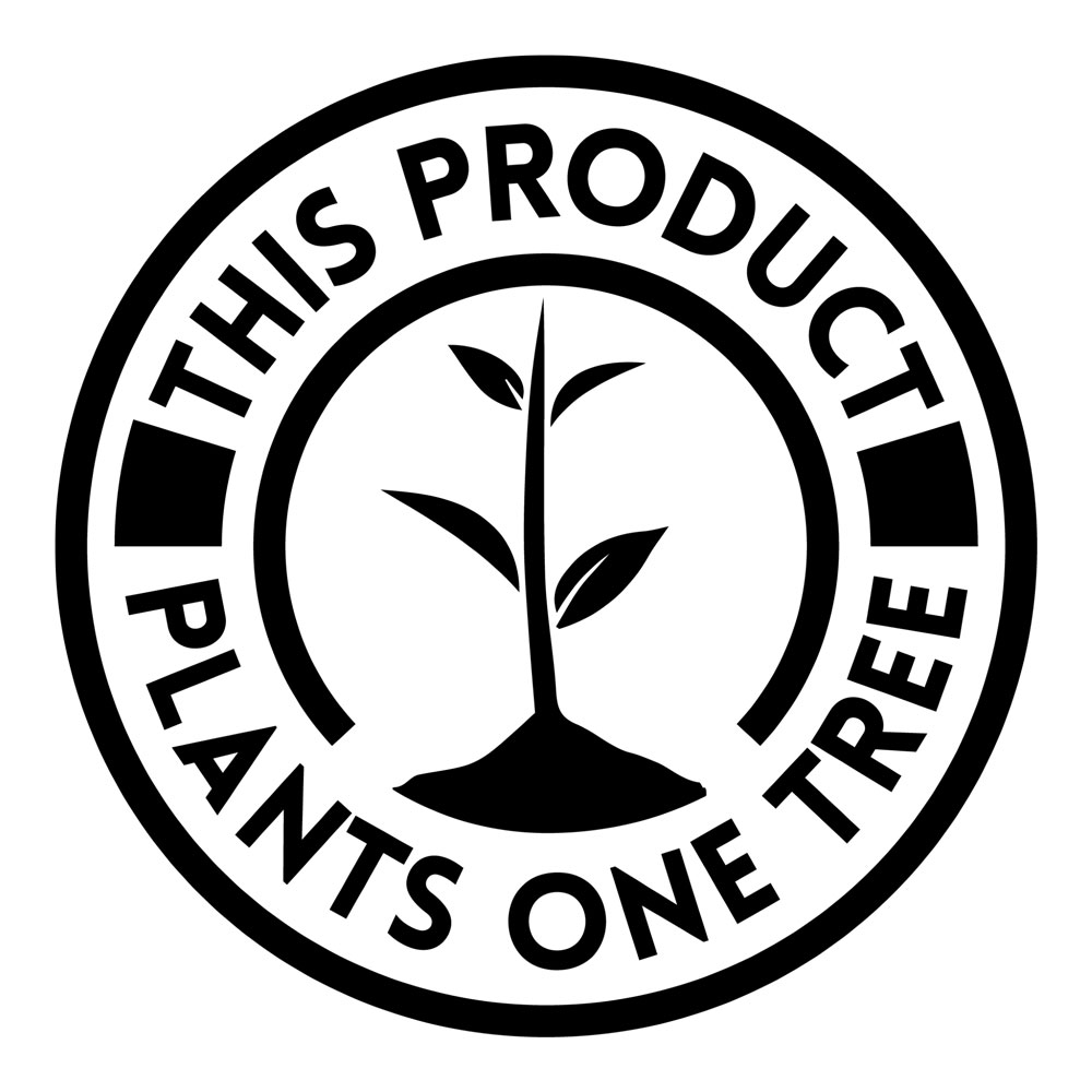 """""""This product plants one tree"""" logo"""
