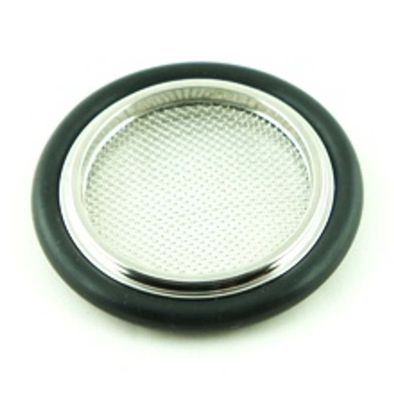 O-ring/screened metal centering ring combination for KF16 to KF50