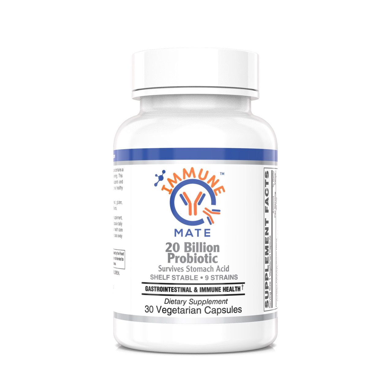 Immune Mate - Immune Support Probiotics; Formulated with Clinically tested Bifidobacterium lactis Bl-04, Maintains a healthy immune & respiratory function, & Modulates nasal immune function.* 9 Patented Strains, 20B CFU, Shelf stable, Survives Stomach Acid.