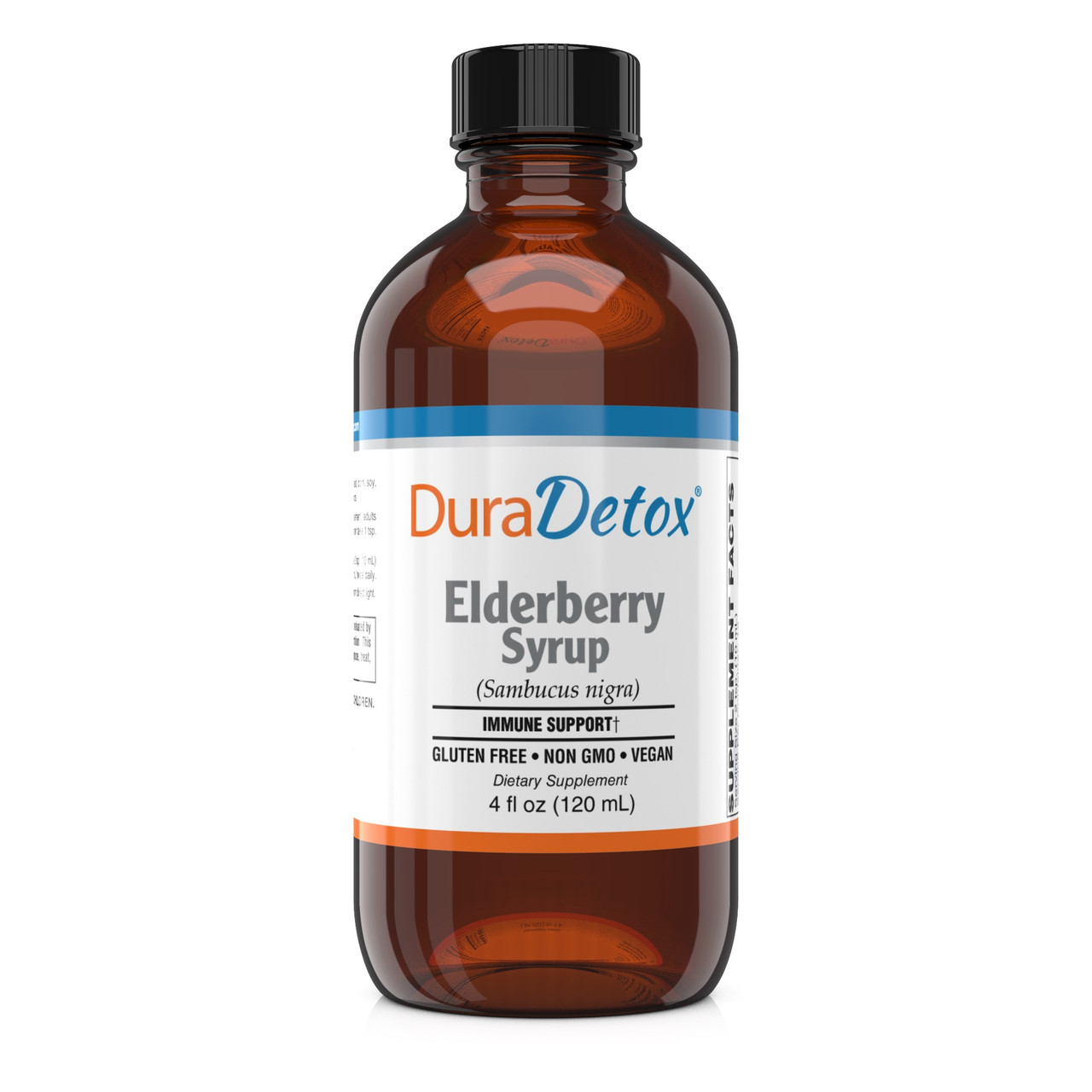 DuraDetox® Organic Elderberry Syrup - Provides 6,400mg of 100% certified organic, pure elderberry fruit extract per serving, with no sugar, artificial colors or flavors.