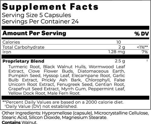 ParaNix™ - Intestinal Cleanse For Harmful Organisms - Gluten Free, Soy Free, Dairy Free, Vegan, Vegetarian.