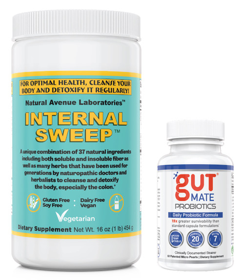INTERNAL SWEEP + GUT MATE (World's Best Fiber Plus Probiotic Combination) INTERNAL SWEEP™ - Colon Cleanse Fiber Powder contains 37 amazing herbs that work synergistically to loosen fecal matter from your intestinal walls ... enhance elimination ... reduce bowel transit time ... and restore digestive health.  For sale @ InternalCleanse.com