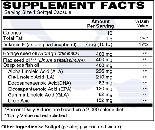 DuraDetox™ Omega 3,6,9 Supplement Facts - Complete EFA Omega 3,6,9 Complete EFA is a mixture of borage seed, flaxseed, and fish oils to provide the benefits of the essential fatty and oleic acids.