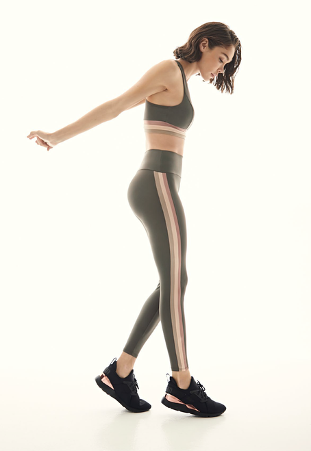 Sprint Stripe Legging_ Olive