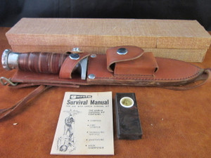 NOS Garcia Survival Knife with box, survival kit and handbook.