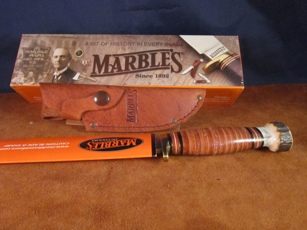 2002 Marbles Plainsman with leather/stag handle NOS