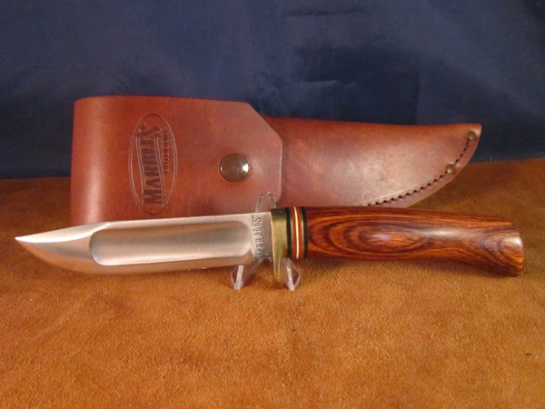 2002 Marbles Ideal; Cocobolo Game Getter handle, leather flap sheath
