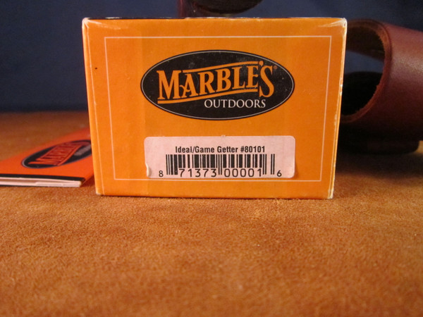 2002 Marbles Ideal; Cocobolo Game Getter handle, leather flap sheath -box