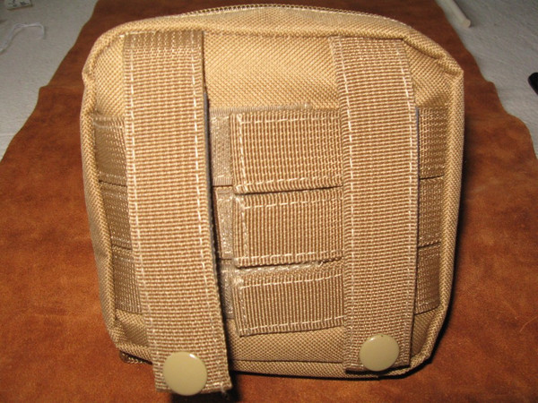 Back of pouch showing attachments