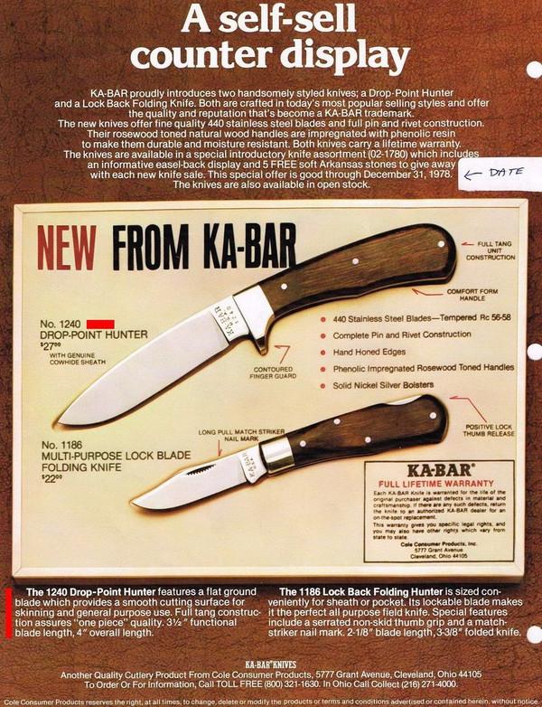 70's Ka-Bar model 1240 drop Point Hunter brochure