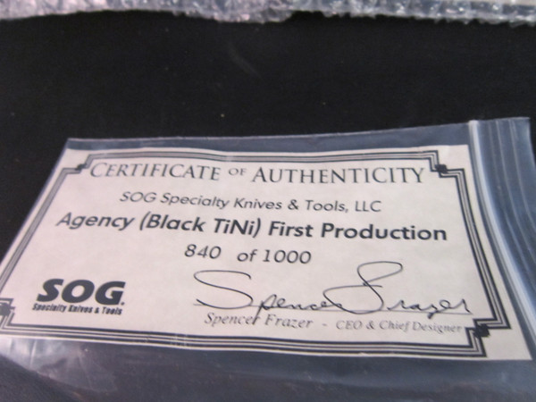 SOG Agency AG-02 knife and sheath NOS certificate
