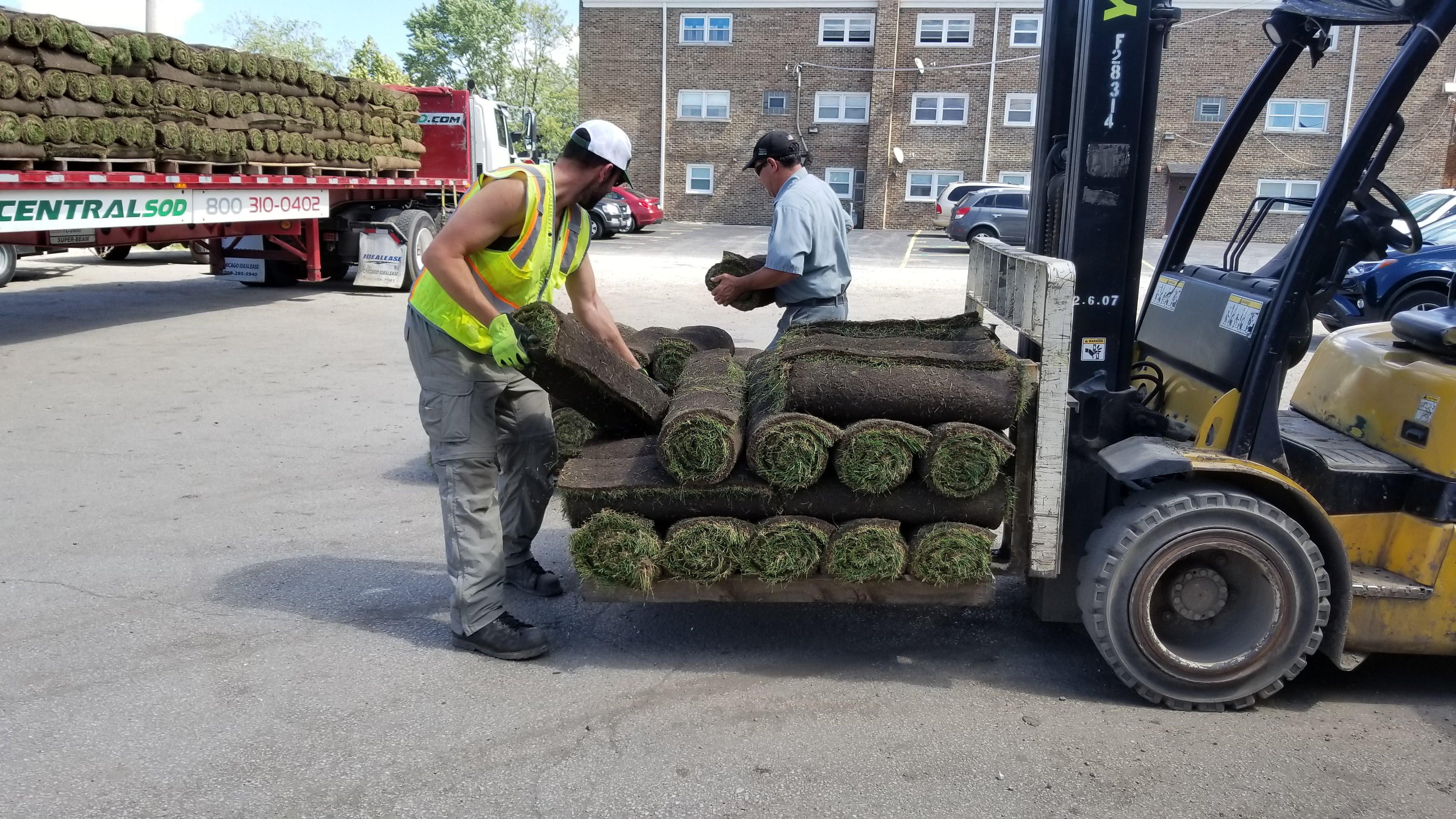 unloading sod
