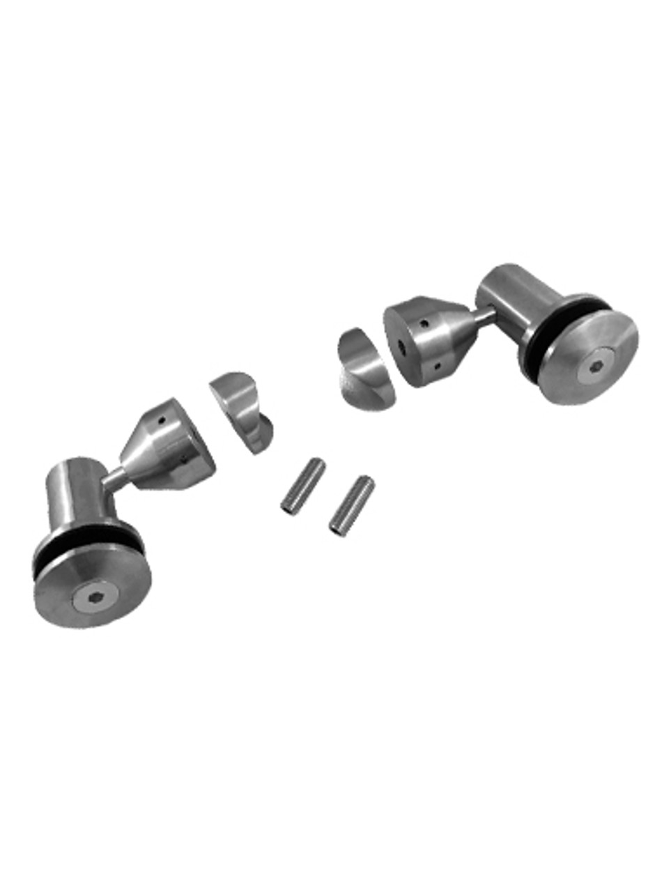 WB6RHD50LBS Double Arm Glass fitting Set in Brushed Finish
