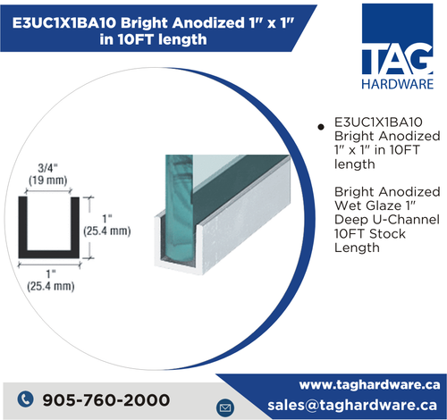 """E3UC1X1BA10 Bright Anodized 1"""" x 1"""" in 10FT length"""