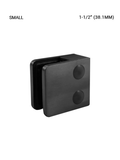 GC61513845SMBL Glass Clip, Sm. Sq. for 38.1 mm SS316, Matte Black