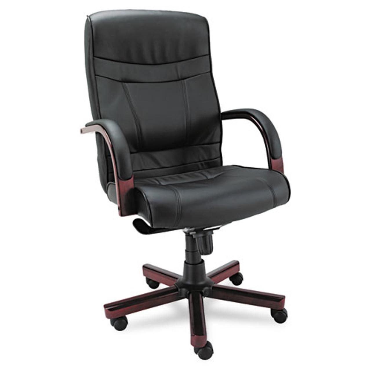 Madaris Series High-Back Knee Tilt Leather Chair Wood Trim, Black/mahogany, #AL-1214