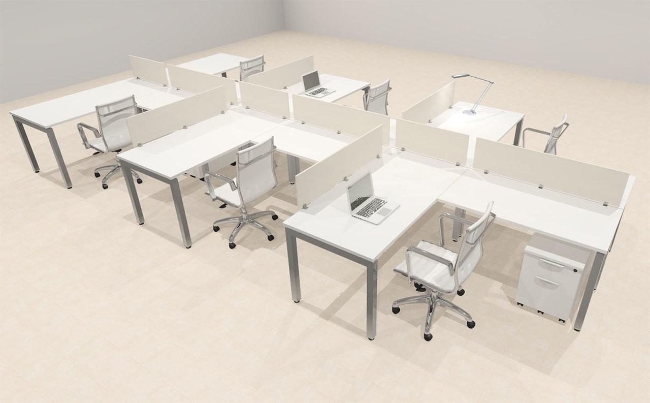Six Person Modern Divider Office Workstation Desk Set, #OF-CON-SP41