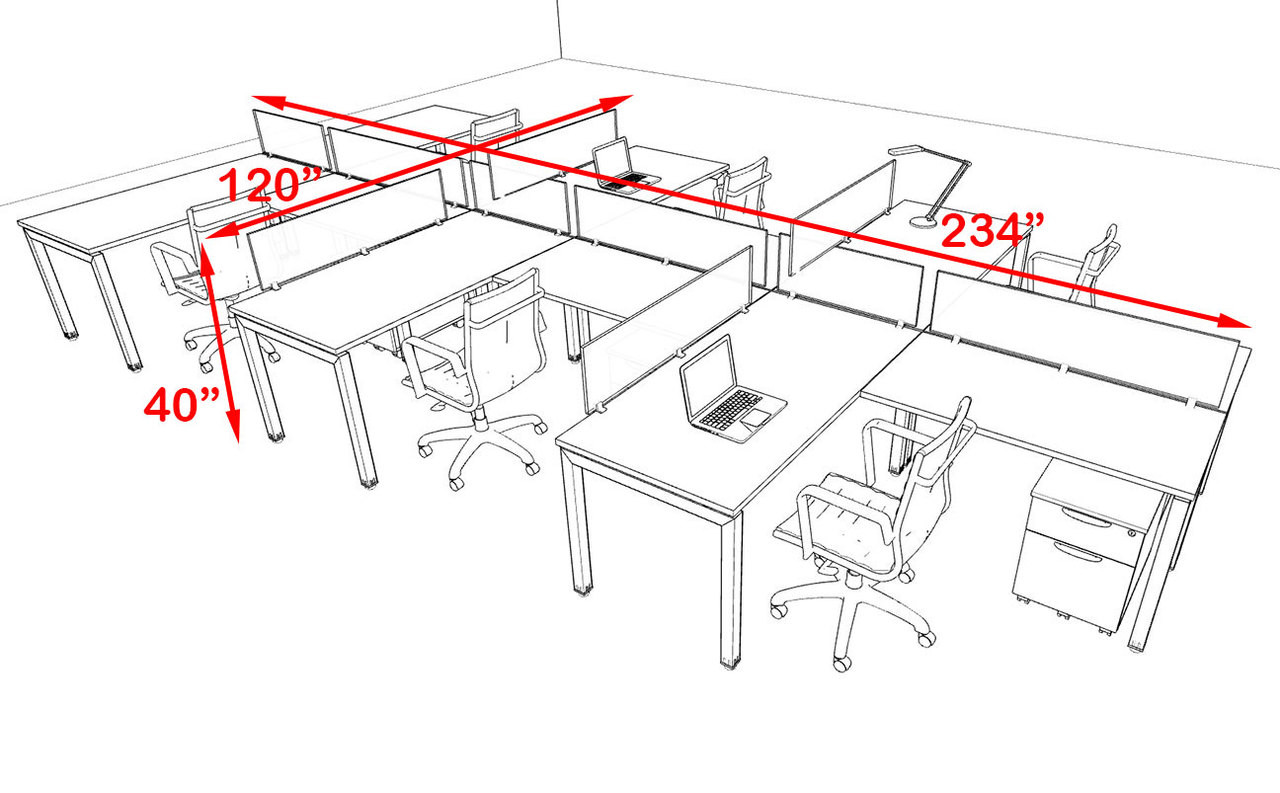 Six Person Modern Divider Office Workstation Desk Set, #OF-CON-SP42