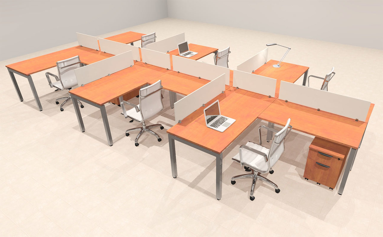Six Person Modern Divider Office Workstation Desk Set, #OF-CON-SP43