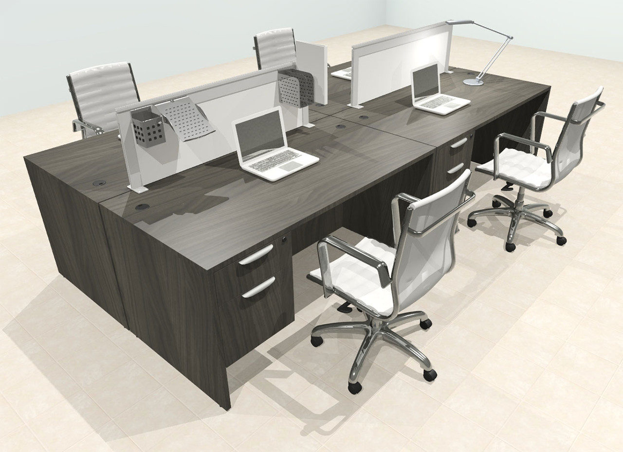 Four Person Modern Aluminum Organizer Divider Office Workstation Desk Set, #OT-SUL-FPS53