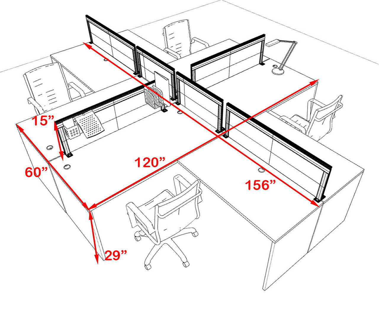 Four Person L Shape Modern Aluminum Organizer Divider Office Workstation Desk Set, #OT-SUL-FPS56