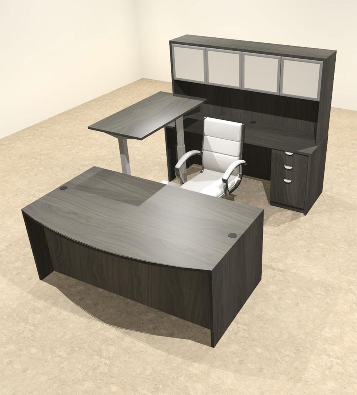 5PC U Shape Modern Executive Office Desk w/Height Adjustable Desk, OT-SUL-UH62