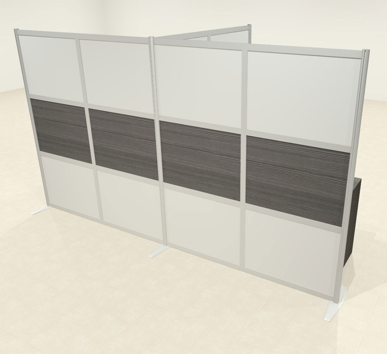 One T Shaped Loft Modern Office Home Aluminum Frame Partition / Divider / Sneeze Guard, #UT-ALU-P67-B