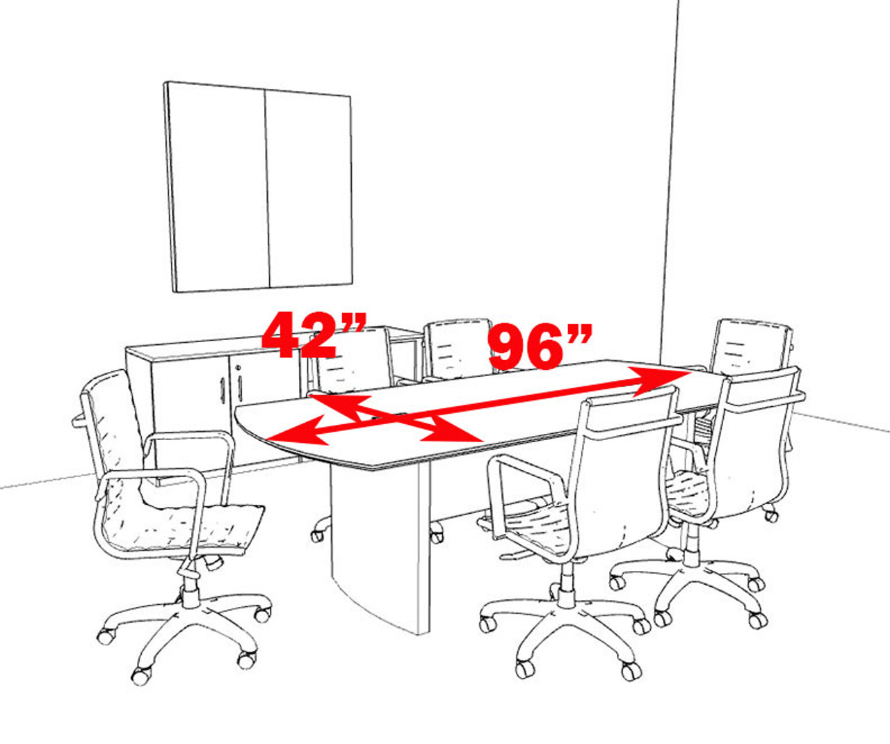 Modern Contemporary 8' Feet Conference Table, #MT-MED-C1
