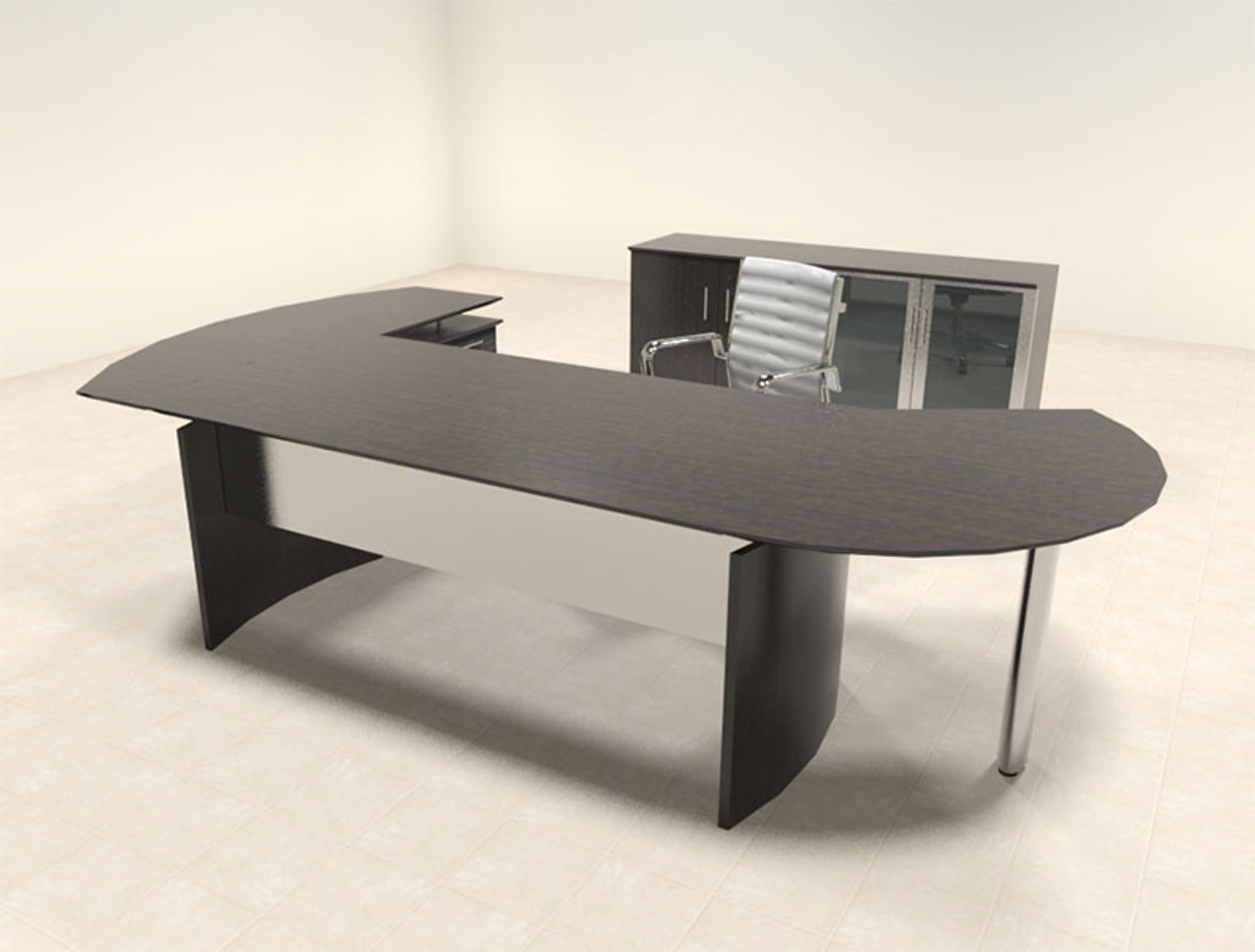 4pc Modern Contemporary L Shaped Executive Office Desk Set Mt Med O12 Color4office