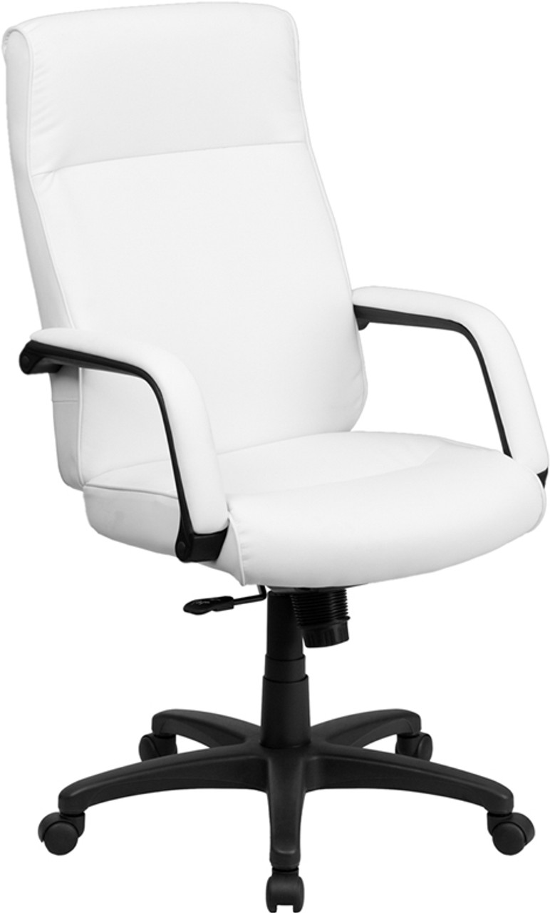 Picture of: High Back White Leather Executive Office Chair With Memory Foam Padding Ff 0159 14 Color4office