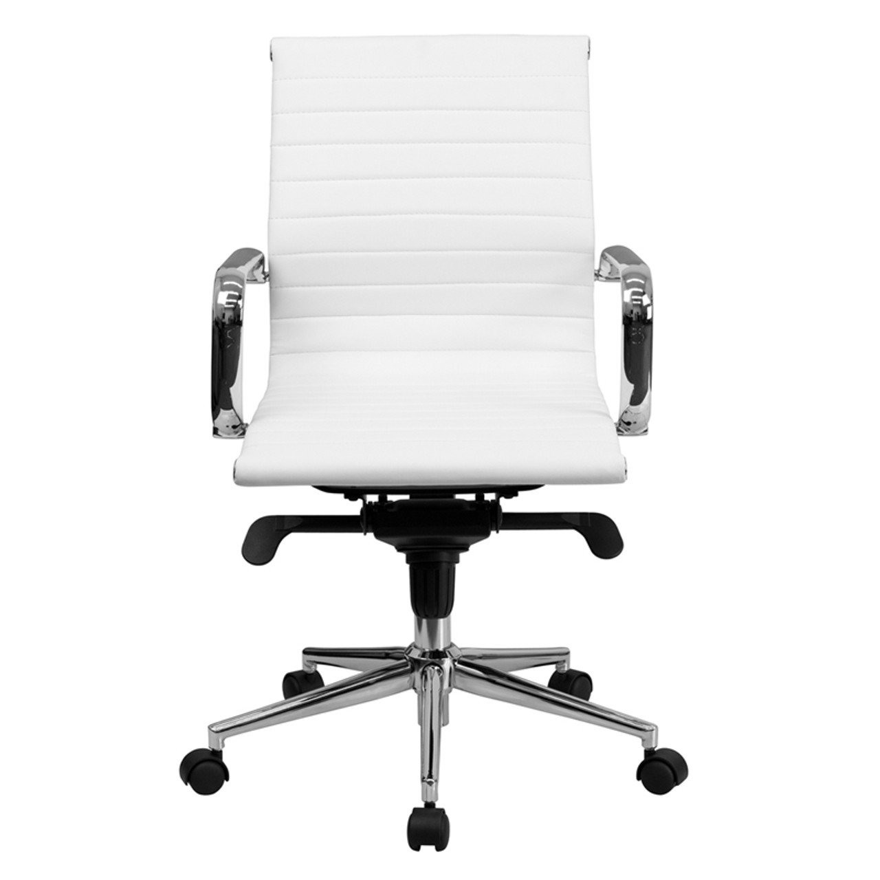 Mid-Back White Ribbed Upholstered Leather Conference Chair , #FF-0169-14