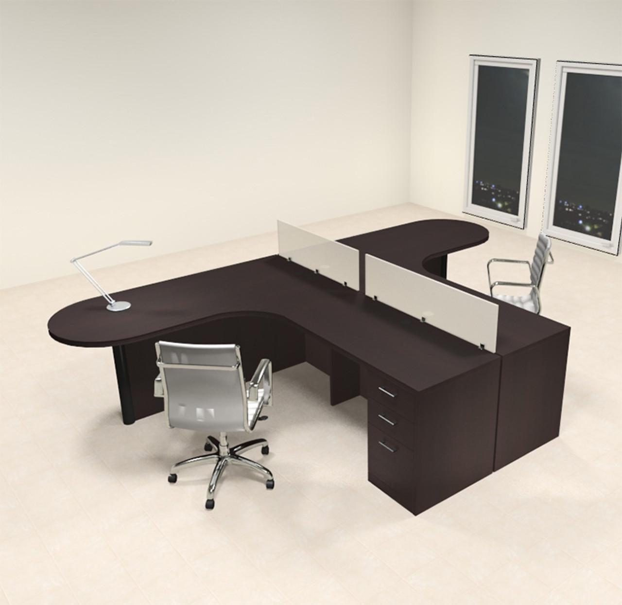 Two Person L Shaped Modern Divider Office Workstation Desk Set Ch Amb Sp2 Color4office