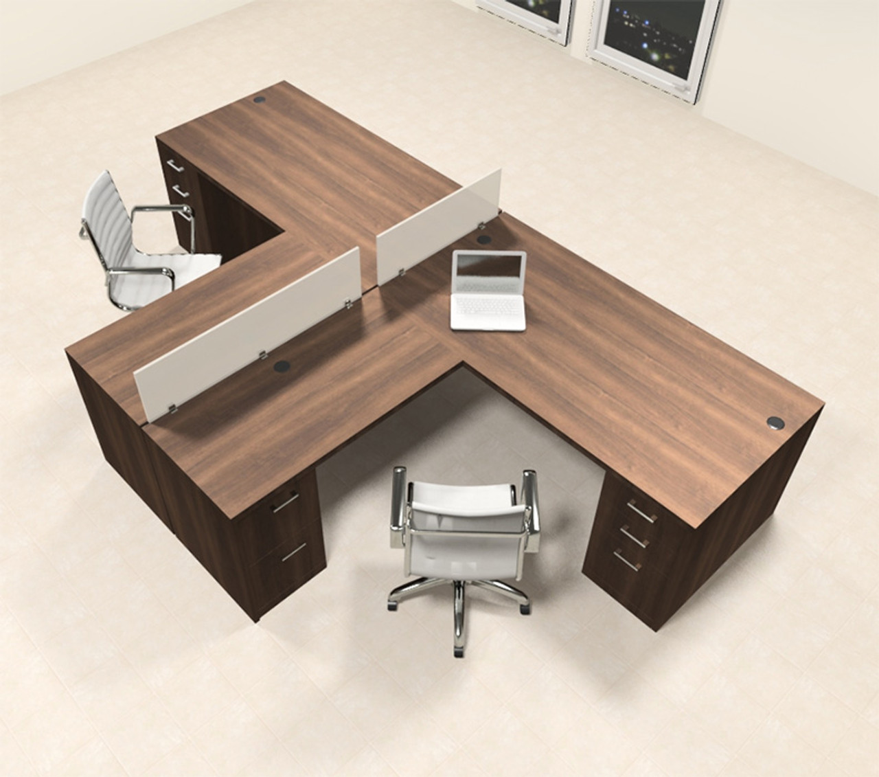 Two Person L Shaped Modern Divider Office Workstation Desk Set Ch Amb Sp34 Color4office
