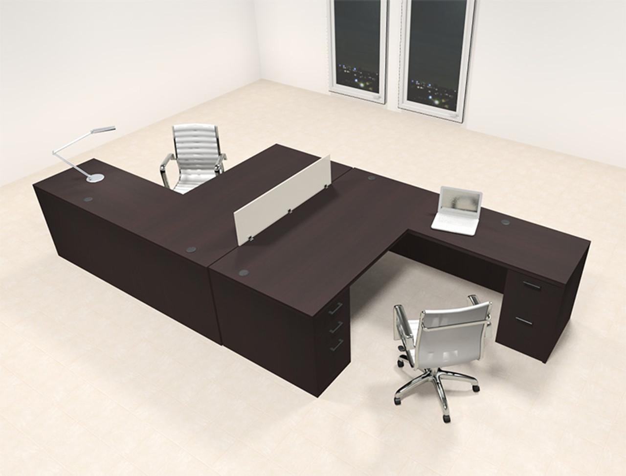 Two Persons L Shaped Office Divider Workstation Desk Set Ch Amb Fp2 Color4office