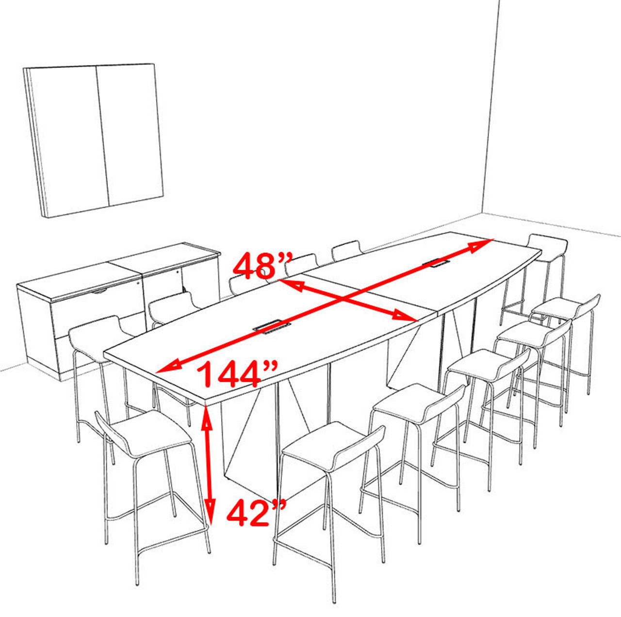 Boat Shape Counter Height 12' Feet Conference Table, #OF-CON-CT10