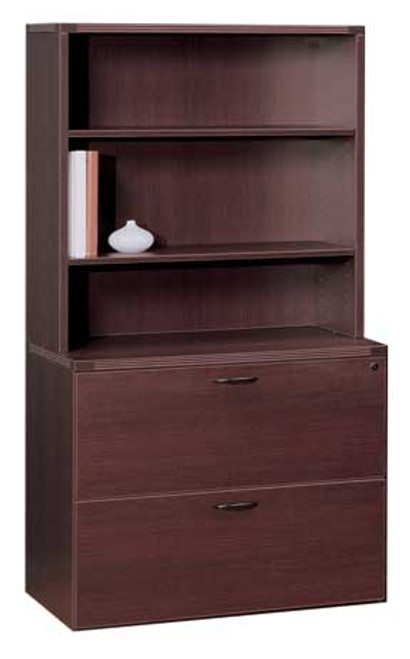 2 Drawer Lateral File Cabinet + Open Hutch, #CH-AMB-CAB3