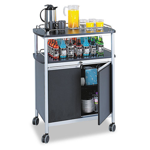 Mobile Beverage Cart, 33-1/2w X 21-3/4d X 43h, Black, #SF-7853-BL
