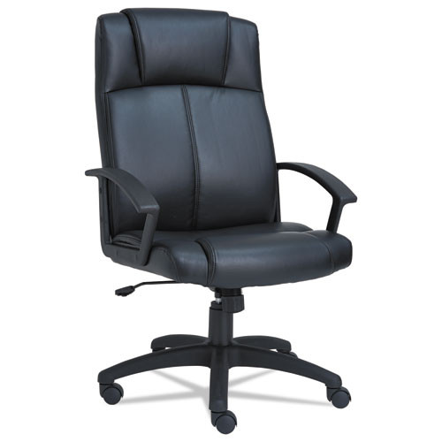 Alera Cl Series High-Back Leather Chair, Black, #AL-1075