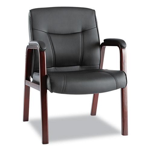 Madaris Series Leather Guest Chair W/wood Trim, Four Legs, Black/mahogany, #AL-1216