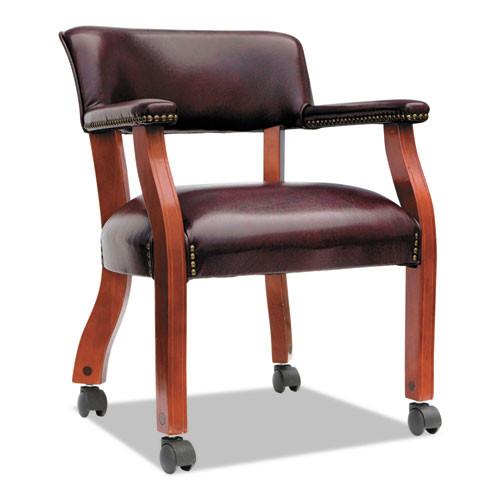 Alera Traditional Series Guest Arm Chair W/casters, Mahogany/oxblood Vinyl, #AL-1225