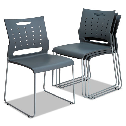 Alera Continental Series Perforated Back Stacking Chairs, Charcoal Gray, 4/ct, #AL-1251