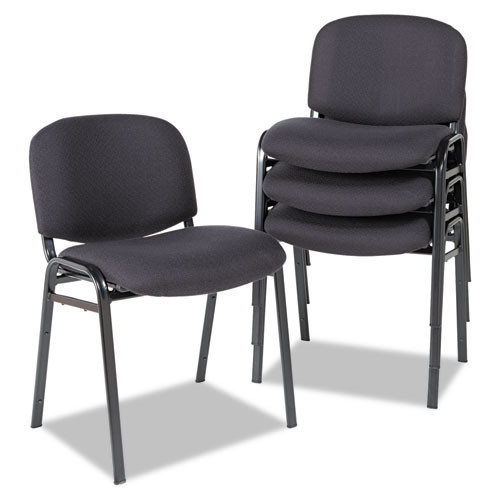 Alera Continental Series Stacking Chairs, Black Fabric Upholstery, 4/carton, #AL-1252