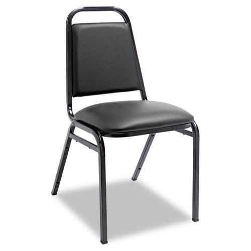 Padded Steel Stack Chair W/square Back, Black Vinyl, Black Frame, 4/carton, #AL-1253