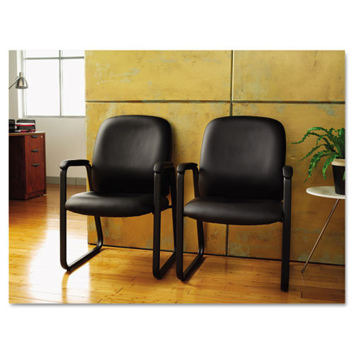 Alera Genaro Series Guest Chair, Black Leather, Sled Base, #AL-1444
