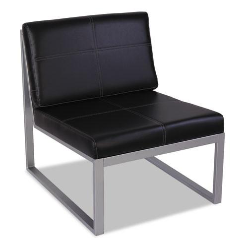 Alera Ispara Series Armless Cube Chair, 26-3/8 X 31-1/8 X 30, Black/silver, #AL-1462