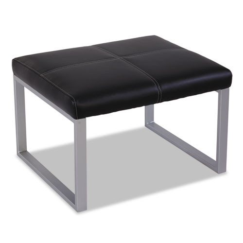 Alera Ispara Series Cube Ottoman, 26-3/8 X 22-5/8 X 17-3/8, Black/silver, #AL-1463