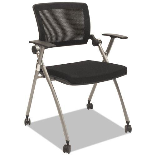 Flex Back Nesting Chair, Black/gray, 2/carton, #AL-1831