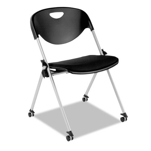 Sl Series Nesting Stack Chair With Casters, Black, 2/carton, #AL-1832