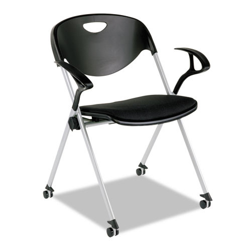 Sl Series Nesting Stack Chair With Loop Arms And Casters, Black, 2/carton, #AL-1833