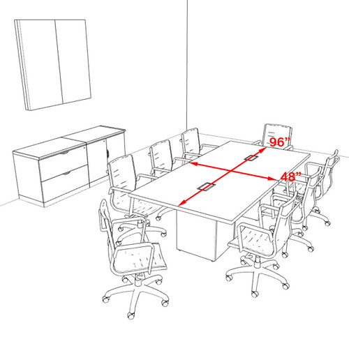 Modern Rectangular Top Cube Leg 8' Feet Conference Table, #OF-CON-CS4